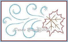 Swirling Leaf Fall Autumn Embroidery Pattern for Greeting Cards