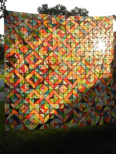 """Warm/Cool Quilt along quilt from """"Don't Call Me Betsy"""".  Gorgeous stained glass shot!"""