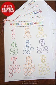 Watercolor printable number practice