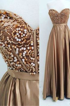 Chocolate satins sweetheart beading long dress,evening dresses for teens,Beaded prom dress, sweetheart prom dress, beautiful chocolate satin long dress for prom 2017