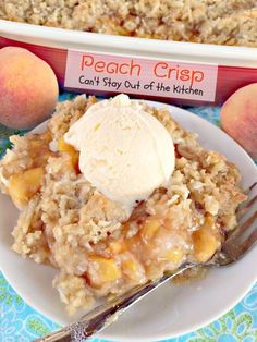 Peach Crisp | Can't Stay Out of the Kitchen | incredibly wonderful #dessert with a homemade #peach filling and a #streusel crust and topping made with #coconut.