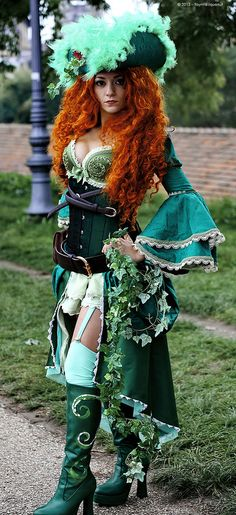 Poison ivy pirate/steampunk. Add some pants and make the hat... umm... less and it is a pretty cute outfit. Certainly a great source for ideas.