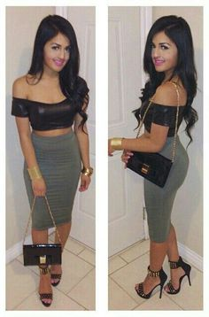 Luv her outfit....crop top , high waisted skirt n heels!