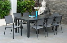 The Havana Eight Seater Dining Set is ideal for those looking for a generously sized, stylish and maintenance free outdoor dining set!