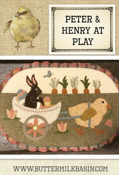Peter & Henry at Play-Love this Easter mat. Pattern available at The Quilt Rack & Wool Cubby