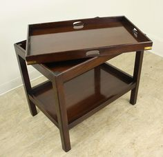 Antique Mahogany Tray On Table, Brass Accents