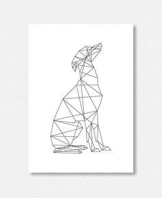 Italian Greyhound Geometric Minimal Black and White by lakeandart