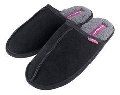 Dunlop - Ladies Fleece Lined Mules Suede Slippers Wet Brush, Tan Shoes, Slip On Mules, Dress Making, Black And Grey, Slippers, Lady, Socks, Sweet Dreams