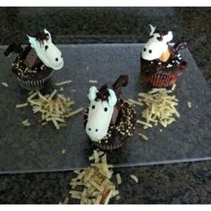 CLICK! This shows step by step instructions on how to make the horse cupcakes. We will do it better than this style though.