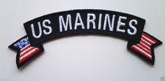 "''US MARINES"" With Flags  Military Veteran Biker Rocker Patch"