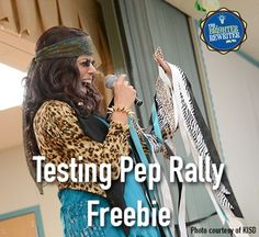A pep rally before state testing will help students (and teachers) relax, laugh and get mentally prepared for the challenges ahead. Plus, kids LOVE them like you wouldn't believe! This free resource will give you a great start in planning and presenting a highly motivational pep rally. (And yes...the photo is me lip-syncing as Steven Tyler during one of my own pep rallies in case you were wondering!) The following items are contained in this free resource:Cheers for school spirit & test m...
