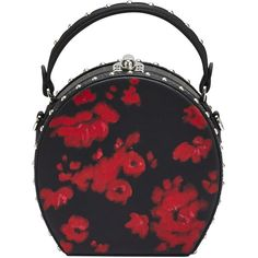 Bertoni 1949 Round Mini Bertoncina Handbag (5.235 BRL) ❤ liked on Polyvore featuring bags, handbags, black, miniature purse, embellished handbags, flower purse, mini hand bags and special occasion handbags