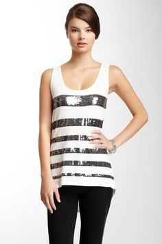 Sequin stripe tank top, such a cool tank top for going out.