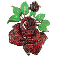 Red Rose Crystal Flower Pin Brooch