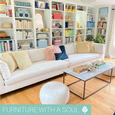 """Pillows $33 each Aiming for a more neutral color scheme? Follow this simple decor tip from @citygirlinasuburbworld : """"A quick way to get a neutral book shelf is to flip around the bindings on your books and voilà!""""  Love it 😍 Neutral Color Scheme, Color Schemes, Nadeau Furniture, Bookshelves, Home Furnishings, Repurposed, Couch, Make It Yourself, Pillows"""