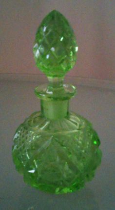 Vintage 1940's 50's Apple Green Cut Glass Perfume Bottle by AntiquesandStuff56 on Etsy