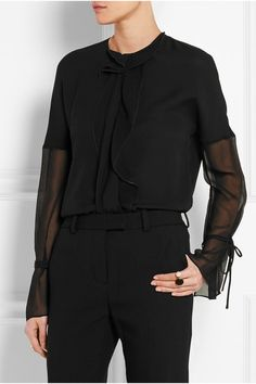 Black crepe and silk-georgette Hook-fastening keyhole at back  100% silk Dry clean Imported