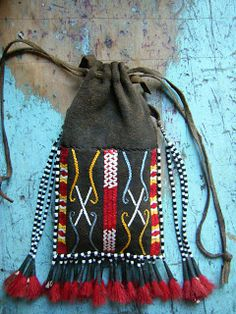 Contemporary Makers: Quillwork by Shawn Brevik Native American Regalia, Native American Design, Native American Beadwork, Leather Tobacco Pouch, Leather Pouch, Ethnic Bag, Medicine Bag, Drawstring Pouch, Native Art