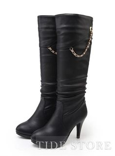 Best Quality Round Toe Hight Heel hain Simple Boots