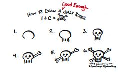 How to draw a Good Enough jolly roger - pirate drawing tutorial by Jeannel King