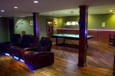 Customizable Mahogany Wood Columns, like this x Square Double Recessed Panel Full Column Wrap, are ideal for colonnades, wrapping a lally column or hiding conduit. Column Wrap, Man Cave Lighting, Pool Table Room, Wooden Columns, Wood Wainscoting, Flexible Led Strip Lights, Wood Panel Walls, Cabinet Decor, Color Changing Led