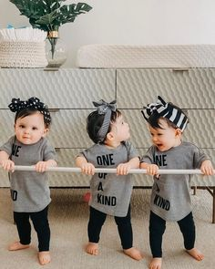Twin Baby Girls, Twin Babies, Cute Baby Girl, Cute Babies, Baby Kids, Cute Kids Pics, Cute Baby Pictures, Triplet Babies, Triplets