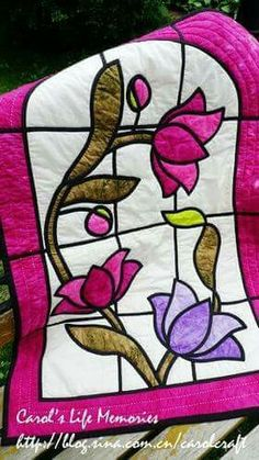 Stained glass flower quilt