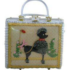 Vintage Atlas White Wicker Poodle Purse from fragrantglass on Ruby Lane