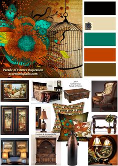 Tuscan Wall Colors | Staging a new Mediterranean style home in the Central Texas Parade of ... Wall Colors, House Colors, Paint Colors, Tuscan Design, Tuscan Style, Style Villa, Bedroom Orange, Bedroom Colors, Bedroom Ideas