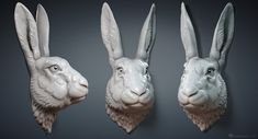 Rabbit, Hare head sculpture wall mount for 3d printing, CNC carving.