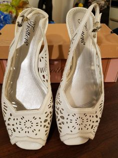 ff289497d9d149 Fun white wedge sling sandals extra wide