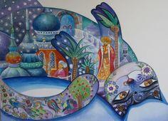 Beauté orientale //chatte/// - Painting,  36x26 cm ©2008 par Oxana Zaika -  Peinture