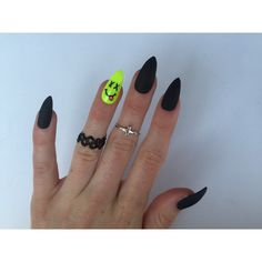 24 Neon Smiley and Matte Black Stiletto nails, Neon Festival nails,... ($40) ❤ liked on Polyvore featuring beauty products, nail care and nail treatments
