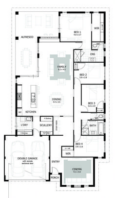 Browse our range of 4 Bedroom House Plans & Home Designs. We have plans to suit a wide range of different block sizes, configurations and frontages. Floor Plan 4 Bedroom, 4 Bedroom House Plans, Bungalow House Plans, New House Plans, Dream House Plans, House Floor Plans, The Plan, How To Plan, Inexpensive Home Decor