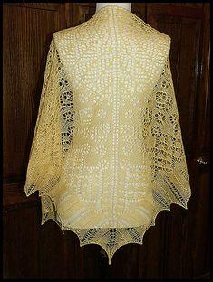"""Renaissance"" knit lace shawl in wool/silk lace weight yarn (pattern by Renee Leverington)"