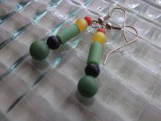 Green Bead Earrings Multi Color Earrings Dangle Bead by mscenna, $8.00