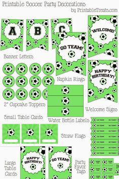 Get the entire set of printable soccer party decorations here! These bright green printable soccer party decorations include letters to create your own personalized pennant banner, 2 inch Baseball Party, Soccer Party, Sports Party, Soccer Birthday Parties, Football Birthday, Birthday Party Themes, Party Printables, Free Printables, Soccer Birthday Cakes