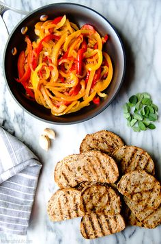 Peperonata Bruschetta – A trio of peppers, onion and garlic come together to top perfectly grilled crusty bread. (Vegan & GF) Recipe @ NomingthruLife.com