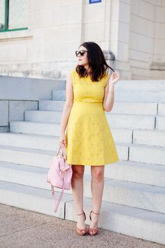 Fitted a-line skirt geometric eyelet jaacquard J.Crew dress