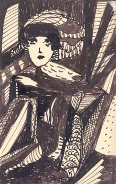 Madge Gill - 'Unititled' c.1940 ink on postcard