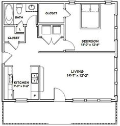 1 Bedroom House Plans, One Bedroom, Tiny House Bedroom, 1 Bedroom Apartment, Garage Apartment Plans, Garage Apartments, Small Apartment Plans, Garage Plans, Windows 10