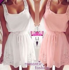 ♥Größe 34-40 Sommerkleid Strandkleid Cocktailkleid in Weiß oder Rosa+NEU♥