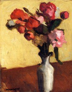 Albert Marquet, Bouquet de fleurs (rouges, vase blanc), h/t. Art And Illustration, Art Floral, Post Impressionism, Painting Still Life, Henri Matisse, Flower Art, Art Photography, Illustrator, Artsy