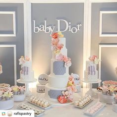 Baby Dior cake and dessert table ... Gorgeous!!!! @rafispastry #baby #babyshower #dior #desserttables #desserttable #babyshower #cake #amazing #picoftheday #glam #chic #blogger #blog #mom #kids #party #partyideas #partypeople