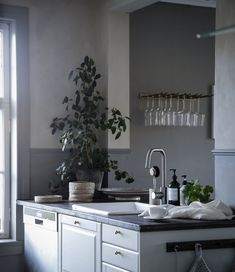 my scandinavian home: A Mysig Swedish Family Home at Christmas Dining Area, Kitchen Dining, Kitchen Decor, Kitchen Cabinets, Scandinavian Kitchen, Scandinavian Interior Design, Trending Paint Colors, Cottage Renovation, Swedish House