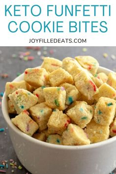 Keto Funfetti Sugar Cookie Bites are vibrant, flavorful, and bring life to any party. These easy sugar-free Sugar Cookies are so playful and irresistible. You don't need a cake mix for the irresistible flavor of funfetti any longer. They are even gluten-free, grain-free, keto, and low carb too.