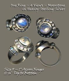 Ring Hand Crafted Heavy Sterling Silver with Faceted Moonstones Round Setting ~ R C Larner Buttons at eBay & Etsy        http://stores.ebay.com/RC-LARNER-BUTTONS