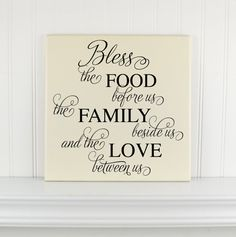"""Personalized Wooden Sign with Saying """"Bless the Food Before Us..."""" Customized Painted Wood Personalized Wall Sign with Quote for the Home"""