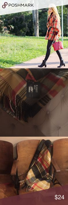 New Tartan Blanket Scarf New with tags!  Great for a present including one to yourself!  Thick, soft quality 100% acrylic fabric for a chic and warm winter accessory.  These can be worn in a variety of ways!  Tan, black, red and white colors pair well with a variety of outfits including brown or black boots! Accessories Scarves & Wraps