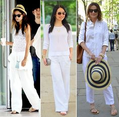 White Linen Pants All White Street Style / JohnnyWas.com Blog
